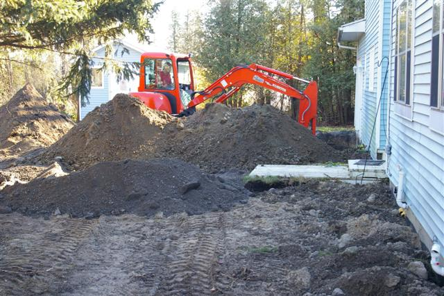 Excavating the front of the house