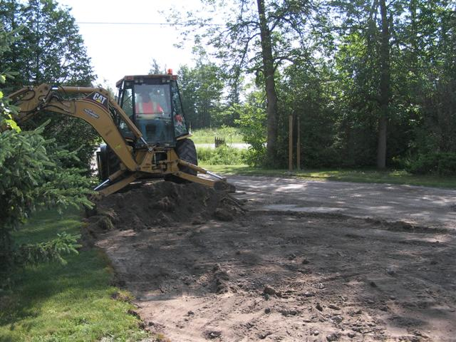 Excavating the driveway